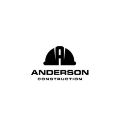 letter a with construction hat logo design concept vector image