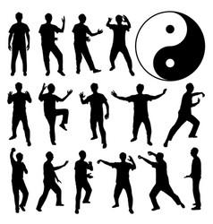 Martial art kung fu self defense a set human vector