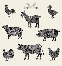 Meat cuts set diagrams for butcher shop scheme vector