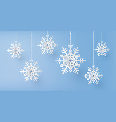 merry christmas and winter season with snow flake vector image