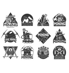 Mining industry coal extraction icons vector