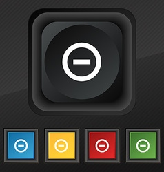 Minus Negative zoom stop icon symbol Set of five vector
