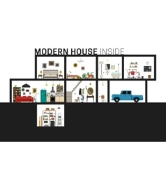 Modern house in cut vector
