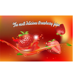 most delicious strawberry juice vector image