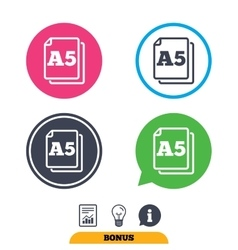 Paper size A5 standard icon Document symbol vector image