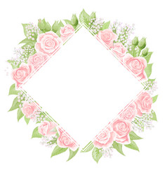 Pink cream rose square frame hand draw vector