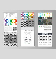 Roll up banner stands flat abstract style vector