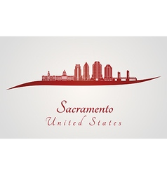 Sacramento V2 skyline in red vector