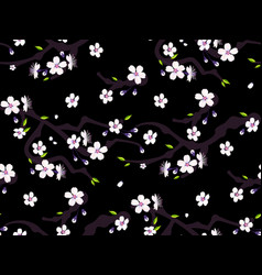 Sakura flowers cherry blossom and leaves seamless vector