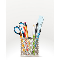 school stationery elements vector image