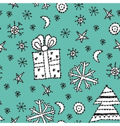 seamless pattern set new year symbol on blue vector image