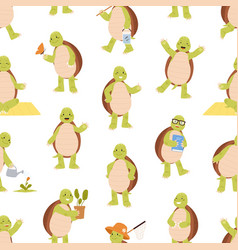 seamless pattern with cute and funny green turtles vector image