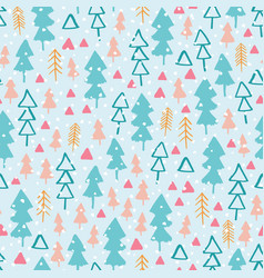 Seamless pattern with winter forest in colourful vector