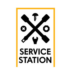 service station banner with instruments car vector image