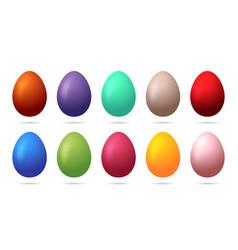 set 10 color easter eggs design elements for vector image
