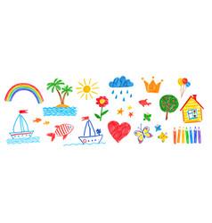Set childlike drawings vector