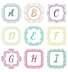 set monograms hand drawn style colorful vector image