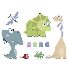 set of dinosaurs 2 vector image