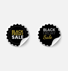 set realistic black friday sale stickers with vector image