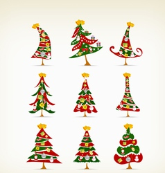 Set vintage christmas tree with icon and element vector