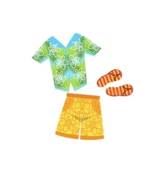 Shirt swimshorts and flip-flops hawaiian vacation vector