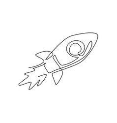 Single continuous line drawing rocket launch vector