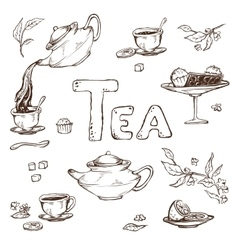 Sketch of items for the tea ceremony vector