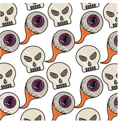 skulll eyes halloween comic pattern vector image