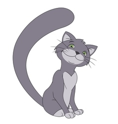 Smiling gray cat vector image