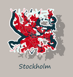 Sticker color map of stockholm sweden all objects vector