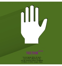 Stop hand Flat modern web button with long shadow vector image