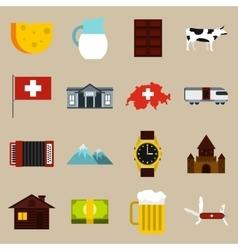 Switzerland icons set flat style vector image