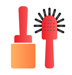 Toilet brush flat icon cleanup color icons in vector