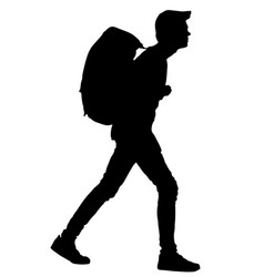 tourist with backpack silhouette walking passenger vector image
