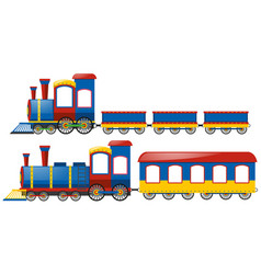 Trains with two types wagons vector