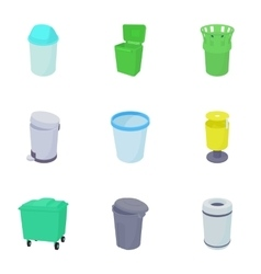 Trash can icons set cartoon style vector image