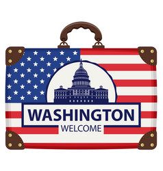 travel bag with flag of usa and capitol building vector image