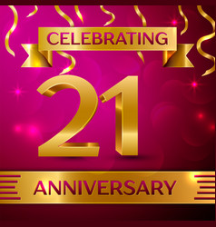 twenty one years anniversary celebration design vector image