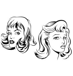 Two sketches of female face vector
