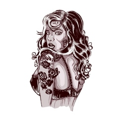 Vibrant rockabilly woman with tattoo on arms vector image