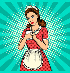 waitress woman pop art vector image