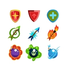 Weapon and shield icons set for games vector