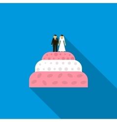 Wedding cake icon flat style vector
