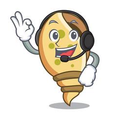 With headphone sea shell mascot cartoon vector