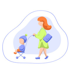 woman and child in trolley walking flat vector image