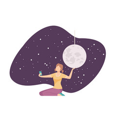 Young girl making selfie with galaxy installation vector