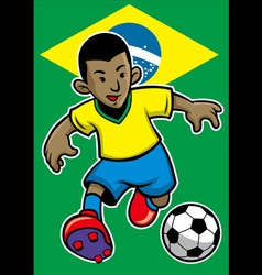brazil soccer player with brazil flag background vector image