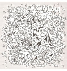 Cartoon hand-drawn Cinema Doodle Sketchy vector image
