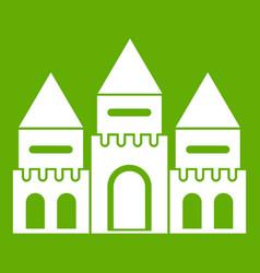 children house castle icon green vector image