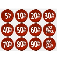 collection of red discount stickers set vector image